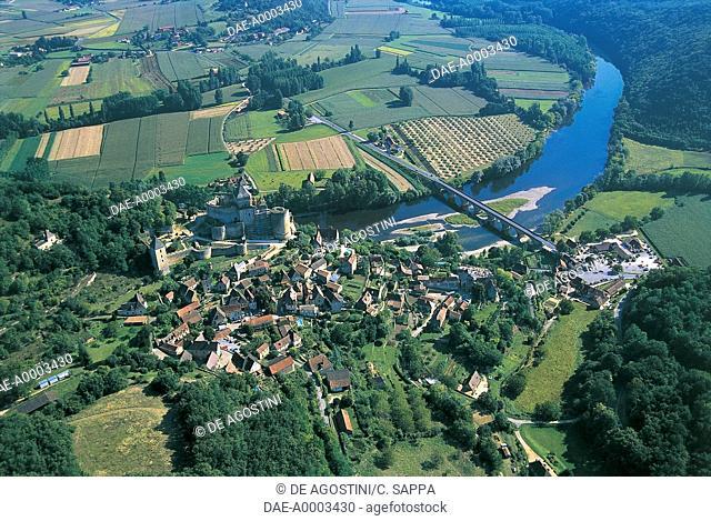 France - Aquitaine - Castelnau and Dordogne River. Aerial view