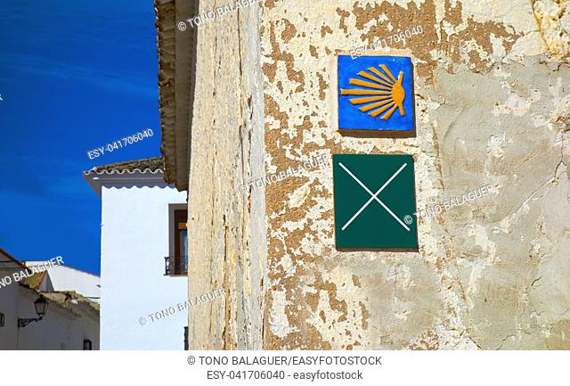 El Toboso don Quijote track sign and Saint James Way in Toledo Spain