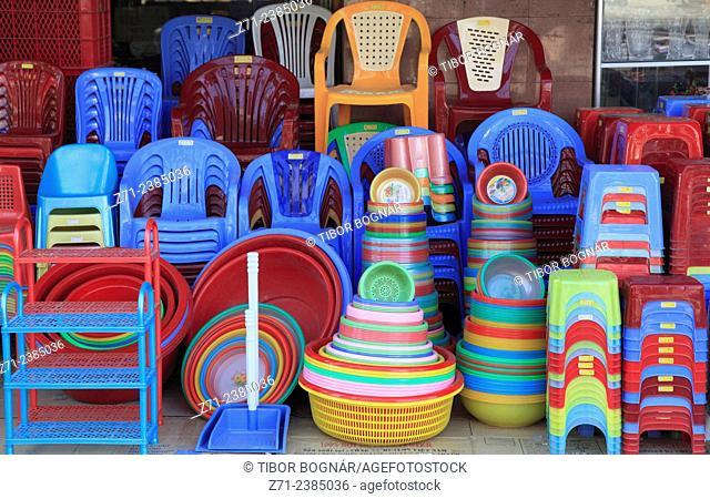 Vietnam, Ho Chi Minh City, Cholon, shop, plastic goods