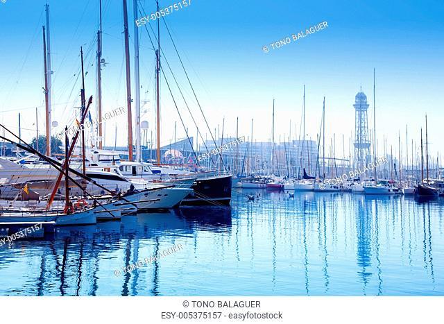 Barcelona marina port with teleferic tower
