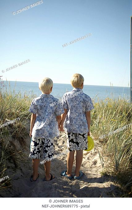 Brothers on a beach, Gotland, Sweden