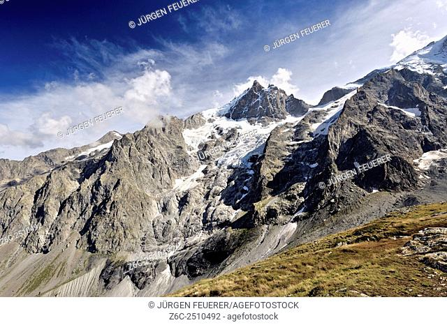 Panoramic view of the glaciers of La Meije, Hautes-Alpes, French Alps, France