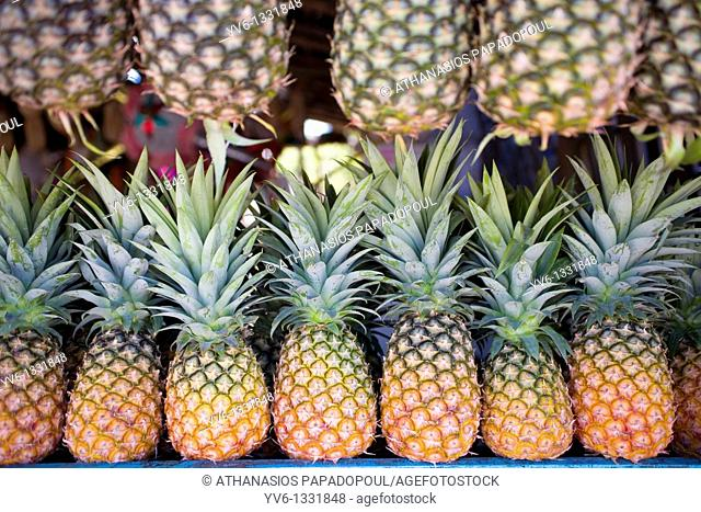CENTRAL AMERICA MEXICO YUCATAN PENINSULA QUINTANA ROO TULUM GEOMETRICAL SYNTHESIS WITH PINEAPPLES AT A GREENGROCERS SHOP SHELF