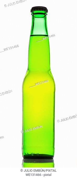 Green beer bottle with white background