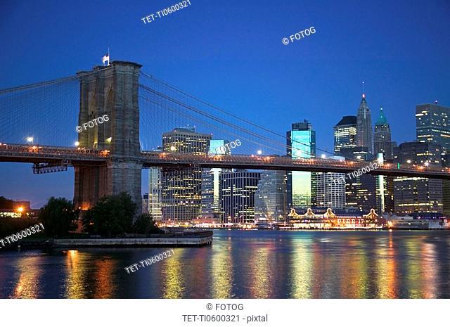 New York City skyline and Brooklyn Bridge at dusk