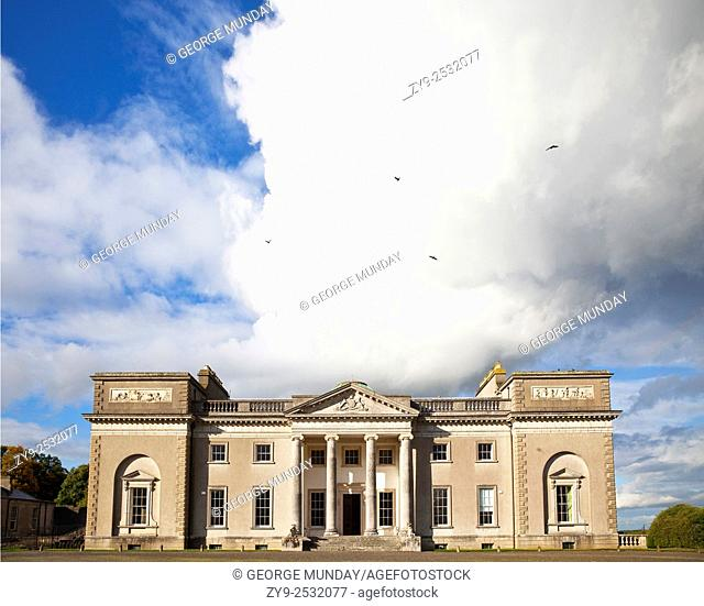 The entrance to Emo Court designed by the architect James Gandon in 1790 in the neo-classical style, . Emo village, County Laois, Ireland