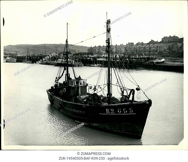 May 05, 1954 - French Poaching Trawler in Newhaven Harbour.: The British Warship H.M.S. Watchful a fisherios protection vessel - boarded the French Fishing...