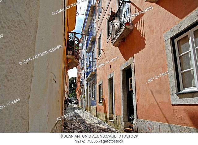 Street in the Alfama area. Lisbon, Portugal, Europe