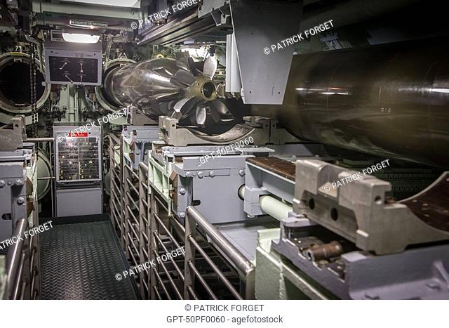 STORAGE OF THE TORPEDOES, TOUR OF THE REDOUTABLE, THE FIRST FRENCH NUCLEAR BALLISTIC MISSILE SUBMARINE LAUNCHED ON MARCH 29