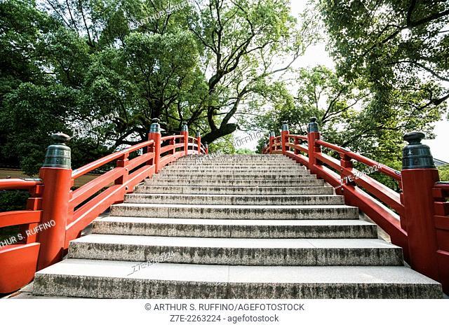 Bridge over Japanese garden, Dazaifu Tenmangu Shrine, Dazaifu, Fukuoka Prefecture, Kyushu Island, Japan