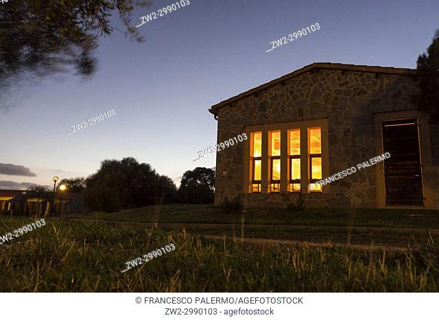 Cozy house in a cold autumn twilight. Bonarcado, Sardinia. Italy