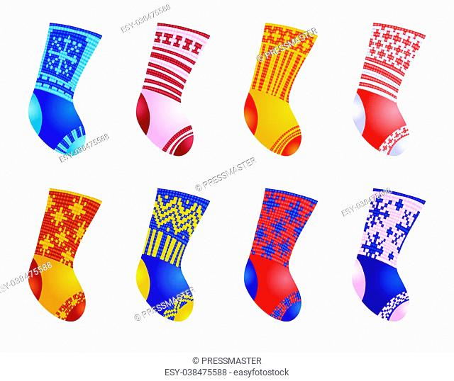 Vector illustration of set of color socks for Christmas