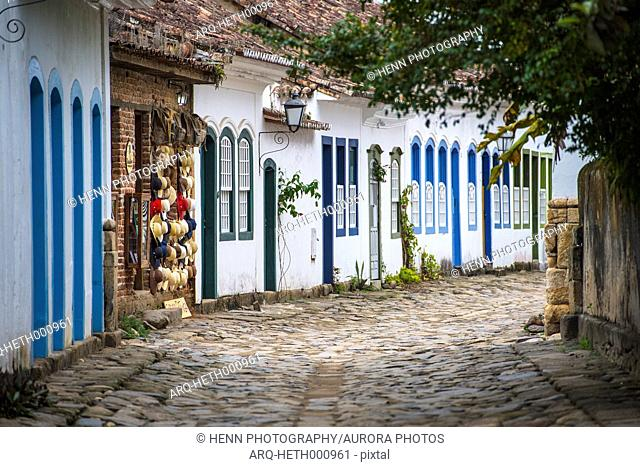 Cobble stone street in Paraty at Costa Verde