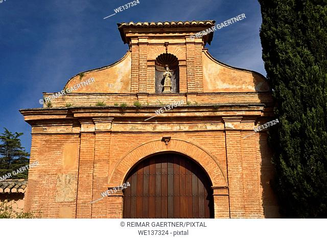 Front facade of ancient convent of San Francisco now hotel at Alhambra Palace in Granada Spain
