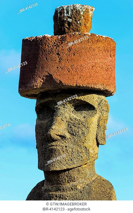Ahu Nao-Nao Moai wearing a red hat, Anakena, Unesco World Heritage Site, Rapa Nui National Park, Easter Island, Chile