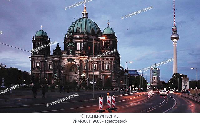 Berliner Dom, TV Tower, Berlin, Germany, Europe, (Time Lapse Video)