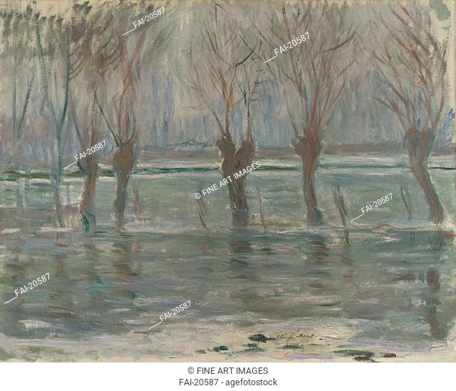 Flood Waters. Monet, Claude (1840-1926). Oil on canvas. Impressionism. 1896. France. National Gallery, London. 71x91,5. Landscape. Painting