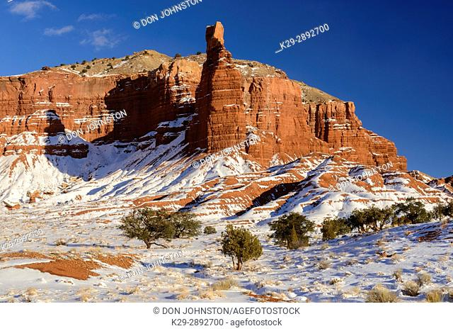 Fresh snow on Chimney Rock, Capitol Reef National Park, Utah, USA