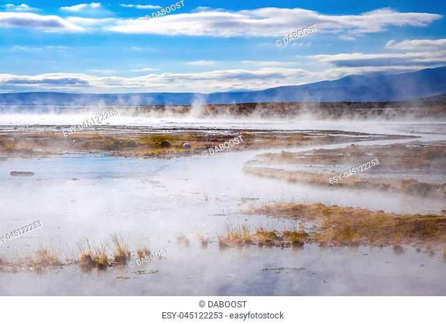 Lake in sol de manana geothermal field, sud Lipez reserva Eduardo Avaroa, Bolivia