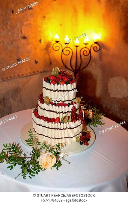 European Wedding Cake made of White Chocolate and Berries