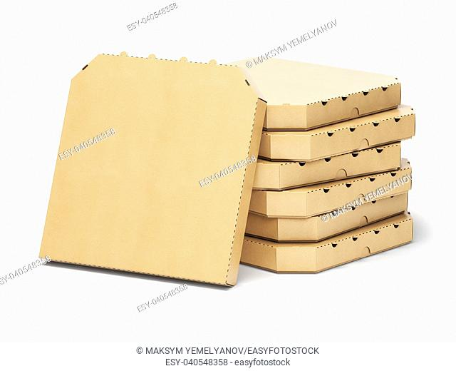 Pizza boxes stack isolated on white, 3d illustration