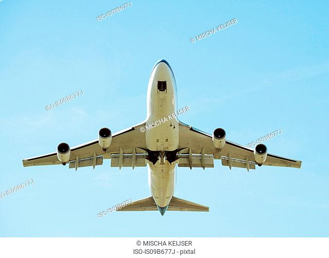 Low angle view of airplane taking off, Schiphol, North Holland, Netherlands, Europe