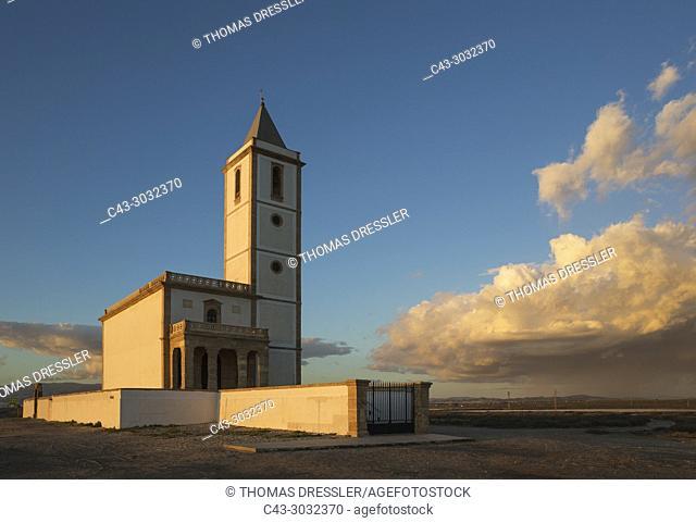 The abandoned church Iglesia de Almadraba de Monteleva. Also called Iglesia de las Salinas de Cabo de Gata or Iglesia de San Miguel