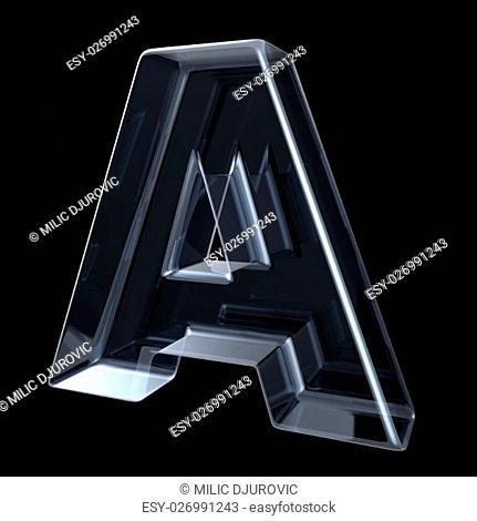 Transparent x-ray letter A. 3D render illustration on black background