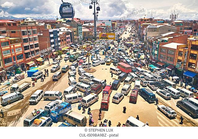 Elevated view of traffic in city, El Alto, La Paz, Bolivia, South America