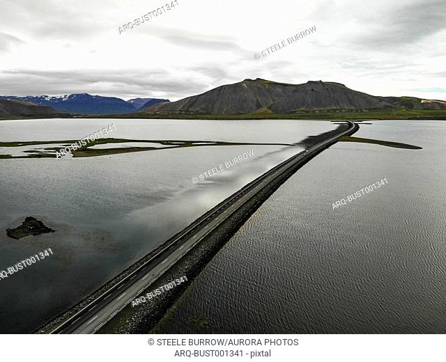 Aerial view of coastal road on†Snaefellsnes†Peninsula, Iceland