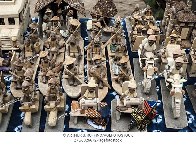 Wood carvings. Cotonou Artisan Center. Cotonou, Benin, Africa