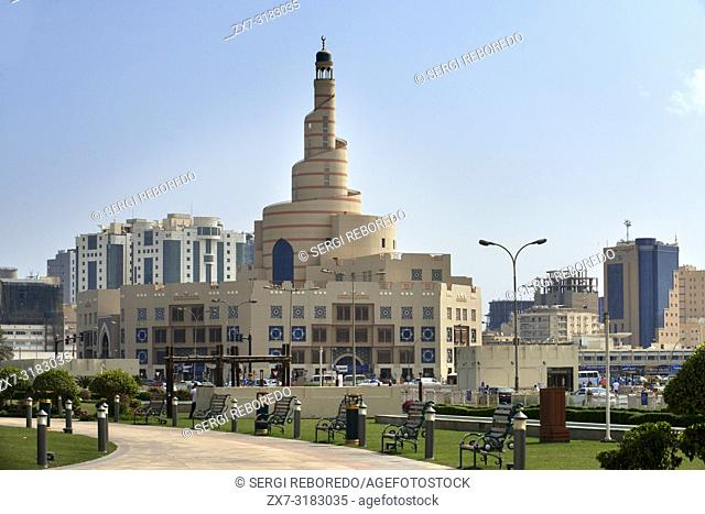 The spiral mosque of the Kassem Darwish Fakhroo Islamic Centre in Doha, Doha, Qatar, Middle East