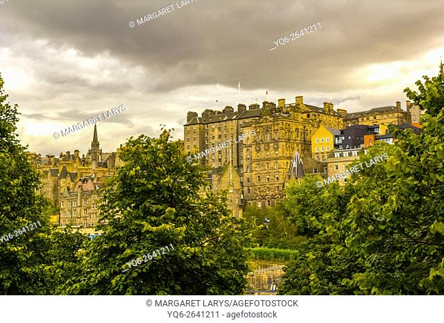 Edinburgh historical architecture in Summer, view from Princess Street, Scotland, UK