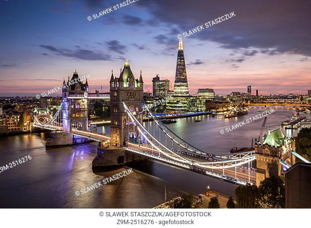 Evening at Tower Bridge in London, England. The Shard in the background