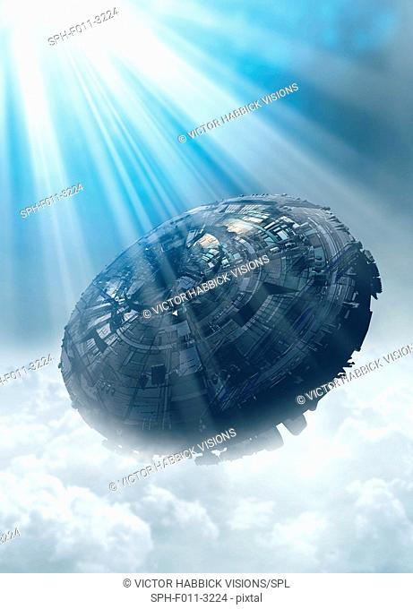 UFO in the cloud, computer illustration