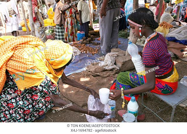 Selling goods such as milk, tea and vegetables on the market in Ethiopia, is a job carried out by women and girls