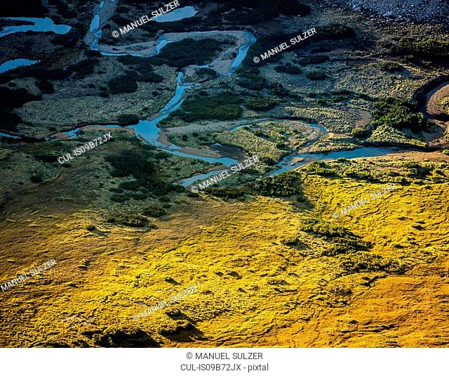 High angle view of Rucaco valley in Nahuel Huapi National Park, Rio Negro, Argentina