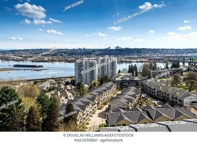 Canada, British Columbia, Fraser River at New Westminster and newer housing in the area
