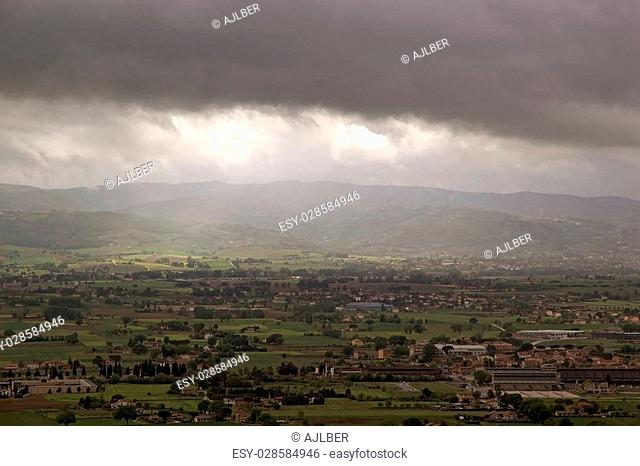 Panorama of the plain of Assisi, Italy. Assisi is a town in Province of Perugia in Umbria Region, on the western flank of Monte Subasio