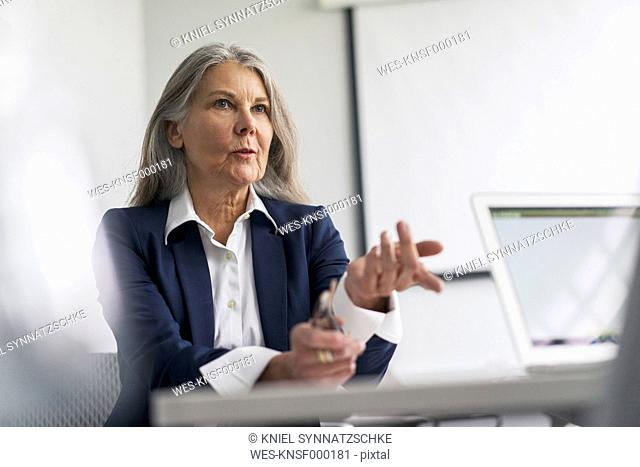 Senior businessswoman in office talking