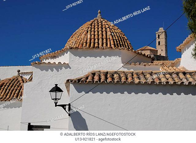 Tiled Domes of the Ibiza City Hall and Santo Domingo Convent, Old Town, Ibiza, Baleares Islands, Spain