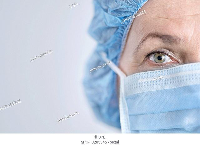 Female surgeon wearing surgical mask and cap
