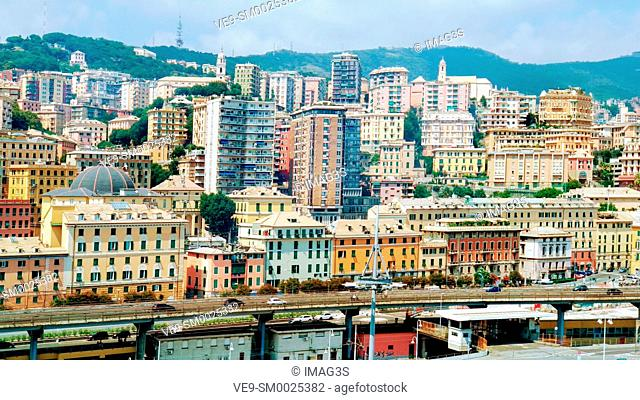 Panoramic view from a cruise ship. The port of Genoa is the busiest port of Italy and one of the most important in the Mediterranean area