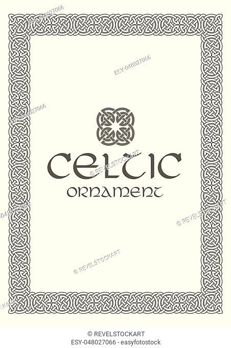 Celtic knot braided frame border ornament. A4 size. Vector illustration