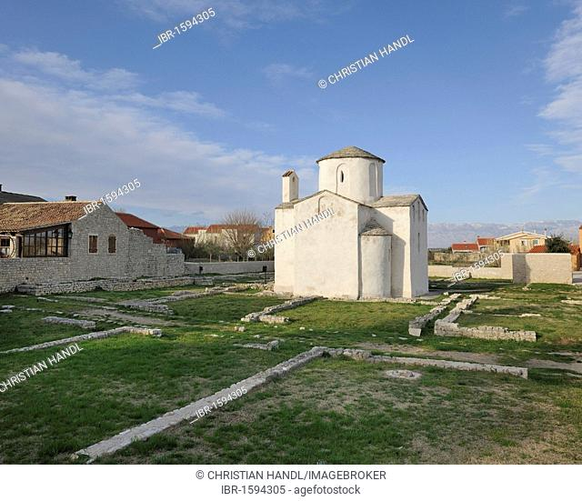 Katedrala svetoga Kriza, Holy Cross Cathedral, built in 800, supposedly the smallest cathedral in the world, Nin, Croatia, Europe