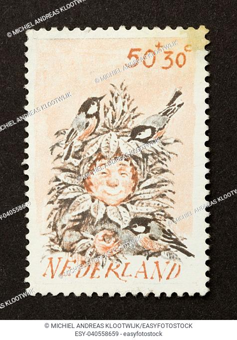 HOLLAND - CIRCA 1980: Stamp printed in the Netherlands shows a child with several birds, circa 1980