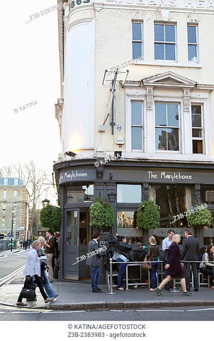 Trendy, fashionable Londoners gather for happy hour at The Marylebone, a popular restaurant and bar in the Marylebone neighborhood of London, England, UK
