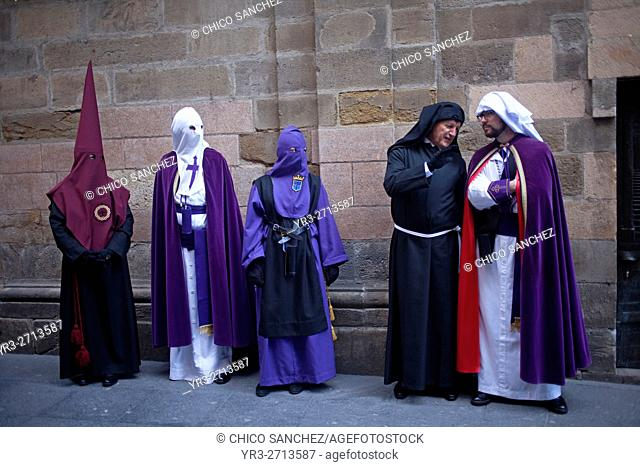 Penitents from different brotherhoods during an Easter Holy Week procession in Astorga, Castilla y Leon, Spain