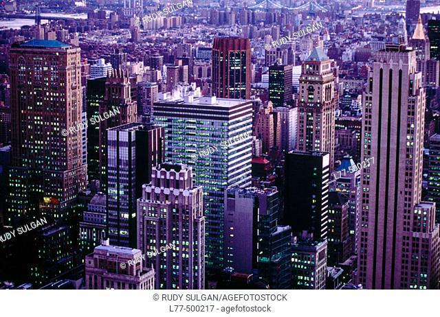Skyscrapers at night, New York City. USA