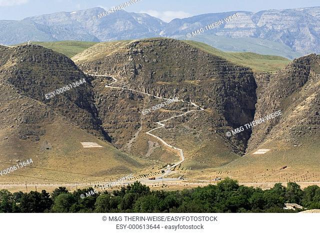 View from the ancient capital of the Parthians Nisa to the Kopet Dagh mountains, Ashgabat Asgabat Turkmenistan, UNESCO World Heritage Site
